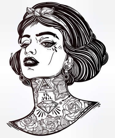 tattoo girl: Adult coloring book page with the face of young tattooed girl. Coloring book page for adults. Female portriat in flash tattoo style. Isolated vector illustration in the style of street art design.