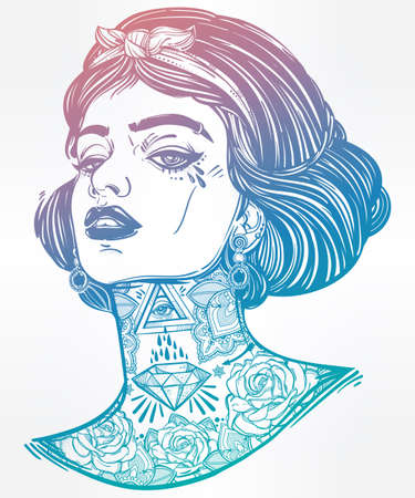 tattooed: Adult coloring book page with the face of young tattooed girl. Coloring book page for adults. Female portriat in flash tattoo style. Isolated vector illustration in the style of street art design.