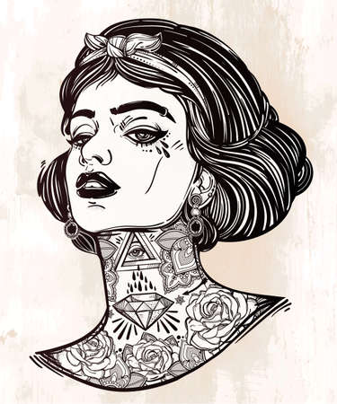 adverse: Adult coloring book page with the face of young tattooed girl. Coloring book page for adults. Female portriat in flash tattoo style. Isolated vector illustration in the style of street art design.