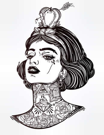 apple isolated: Adult coloring book page with the face of young tattooed girl with apple and arrow. Coloring book page for adults. Female portriat in flash tattoo style. Isolated vector illustration in street style. Illustration