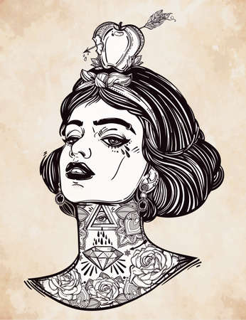 tattooed: Adult coloring book page with the face of young tattooed girl with apple and arrow. Coloring book page for adults. Female portriat in flash tattoo style. Isolated vector illustration in street style. Illustration