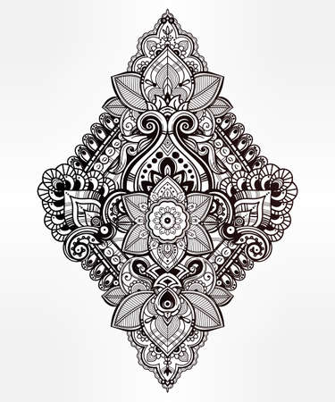 indian tattoo: Beautiful Bohemian floral paisley ornament. Folk henna tattoo style. Vector ethnic ornamental Lotus flower, Indian paisley. Hand drawn illustration. Invitation element. Tattoo, boho and magic symbol.