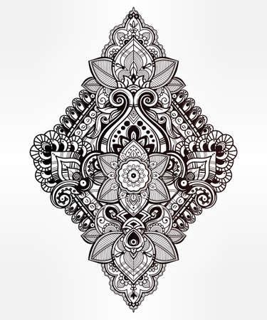 arabesque pattern: Beautiful Bohemian floral paisley ornament. Folk henna tattoo style. Vector ethnic ornamental Lotus flower, Indian paisley. Hand drawn illustration. Invitation element. Tattoo, boho and magic symbol.