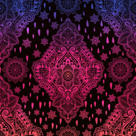 rosa negra: ornamento sin fisuras Paisley floral de Bohemia hermosa. estilo del tatuaje de henna Folk patrón transparente. Paisley indio. vector de la vendimia de flores ornamentales patrón transparente indio étnico con adornos tribales.