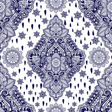 bohemian: Beautiful Bohemian floral paisley seamless ornament. Folk henna tattoo style seamless pattern. Indian paisley. Vintage vector ornamental flower Indian ethnic seamless pattern with tribal ornaments. Illustration