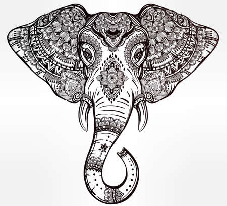 indian animal: Vintage ornate vector ethnic elephant with tribal ornaments. Ideal ethnic background, tattoo art, yoga, African, Indian, Thai, spirituality, boho design. Use for print, posters, t-shirts and textiles.
