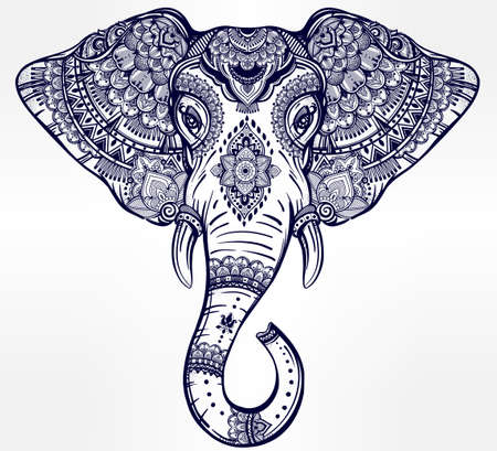 thai tattoo: Vintage ornate vector ethnic elephant with tribal ornaments. Ideal ethnic background, tattoo art, yoga, African, Indian, Thai, spirituality, boho design. Use for print, posters, t-shirts and textiles.