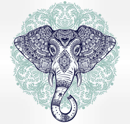 indian yoga: Vintage mandala vector ethnic elephant with tribal ornaments. Ideal ethnic background, tattoo art, yoga, African, Indian, Thai, spirituality, boho design. Use for print, posters, t-shirts, textiles.