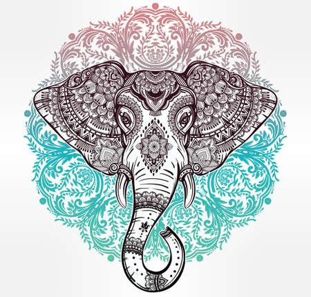 elefantes: mandala del vector de la vendimia elefante étnico con adornos tribales. Ideal fondo étnico, arte del tatuaje, el yoga,, tailandés, espiritualidad, diseño africano, indio boho. Utilizar para la impresión, posters, camisetas, textiles.