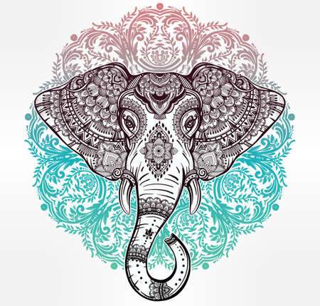 ethnic festival: Vintage mandala vector ethnic elephant with tribal ornaments. Ideal ethnic background, tattoo art, yoga, African, Indian, Thai, spirituality, boho design. Use for print, posters, t-shirts, textiles.