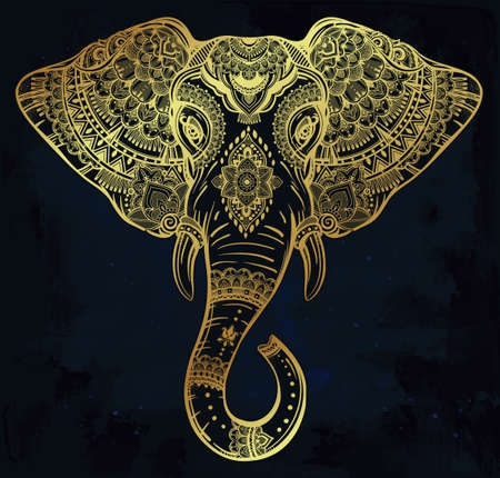 asian elephant: Vintage ornate vector ethnic elephant with tribal ornaments. Ideal ethnic background, tattoo art, yoga, African, Indian, Thai, spirituality, boho design. Use for print, posters, t-shirts and textiles.