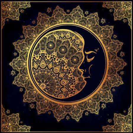 crescent: Intricate ornate bohemian crescent moon with stars and mandala . Isolated Vector illustration. Tattoo art, astrology, spirituality, alchemy, magic symbol. Ethnic, mystic tribal element for your use.