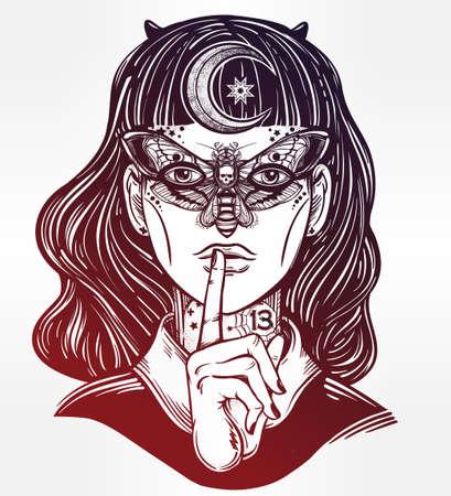 satan: Dibujado a mano hermoso Portriat de la muchacha de la bruja con una máscara de la mariposa y de la luna en el pelo. libros de fantasía, espiritualidad, ocultismo, arte del tatuaje, colorantes. ilustración del vector. impresión de moda.