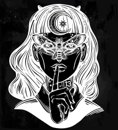 tattoo girl: Hand drawn beautiful portriat of the witch girl with a butterfly mask and moon in her hair. Fantasy, spirituality, occultism, tattoo art, coloring books. Isolated vector illustration. Trendy print. Illustration