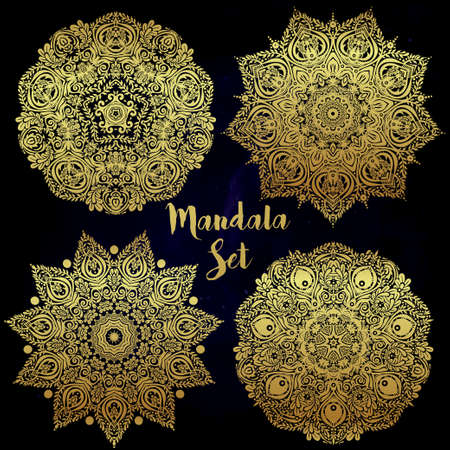 decorative element: Set of abstract round mandalas. Graphic template for your design. Decorative retro ornament background. Isolated vector illustration. Invitation element, tattoo, alchemy, boho and magic symbol. Illustration