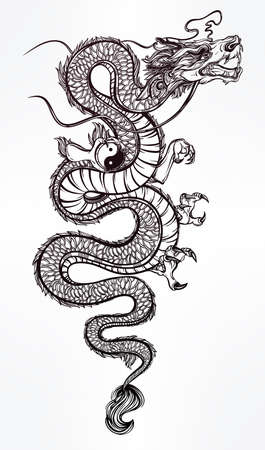 myth: Traditional asian dragon with Yin and Yang symbol. Vector illustration isolated. Magic, ethnic, boho, alchemy objects linear style. Tattoo outline template. Ideal for coloring book or T-shirt graphic.