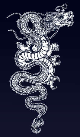 japanese dragon: Traditional asian dragon with moon sphere. Vector illustration isolated. Magic, ethnic, boho, alchemy objects linear style. Tattoo outline template. Ideal for coloring book or T-shirt graphic.