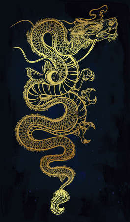 myth: Traditional asian dragon with moon sphere. Vector illustration isolated. Magic, ethnic, boho, alchemy objects linear style. Tattoo outline template. Ideal for coloring book or T-shirt graphic.