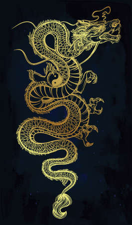 japanese dragon: Traditional asian dragon with Yin and Yang symbol. Vector illustration isolated. Magic, ethnic, boho, alchemy objects linear style. Tattoo outline template. Ideal for coloring book or T-shirt graphic.
