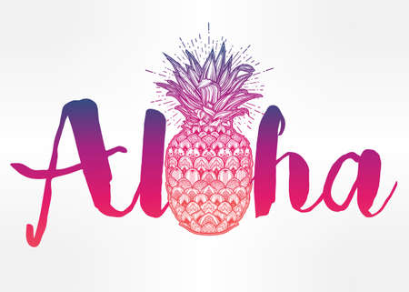 prints: Aloha fashion quote design, summer t-shirt print with ornate pineapple.  Isolated vector illustration. Illustration