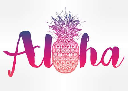 pineapple: Aloha thiết kế thời trang báo, mùa hè áo thun in với dứa trang trí công phu. Isolated vector minh họa.