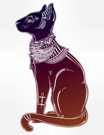 cat goddess: Vintage hand drawn egyptian cat - symbol of goddess Bastet. Vector illustration isolated. Magic religious objects linear in style. Tattoo and print outline template.