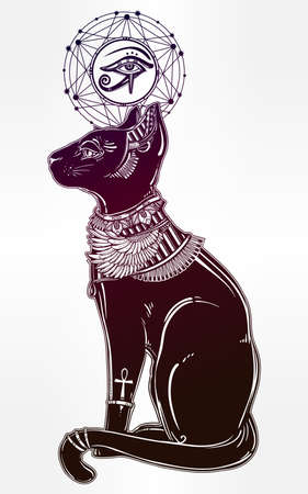 horus: Vintage hand drawn egyptian cat with eye of god Horus - symbol of goddess Bastet. Vector illustration isolated. Magic religious objects linear in style. Tattoo and print outline template.