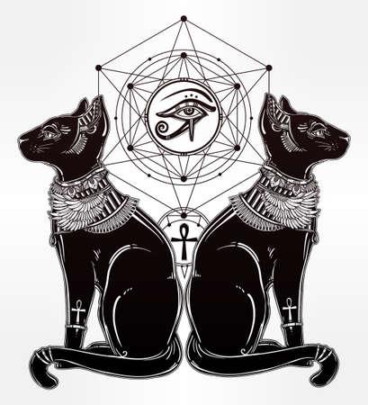 ojo de horus: dibujado mano Vintage gato egipcio con el ojo del dios Horus - símbolo de la diosa Bastet. aislado ilustración vectorial. objetos mágicos religiosos lineales en estilo. Tatuaje y plantilla de contorno de impresión.