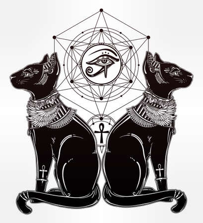 cat: Vintage hand drawn egyptian cat with eye of  god Horus - symbol of goddess Bastet. Vector illustration isolated. Magic religious objects linear in style. Tattoo and print outline template. Illustration