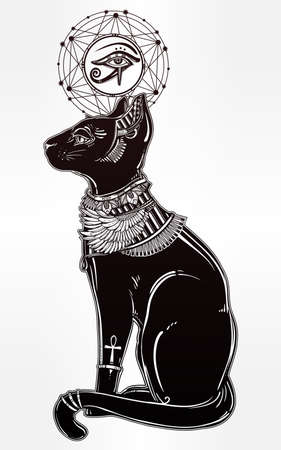horus: Vintage hand drawn egyptian cat with eye of  god Horus - symbol of goddess Bastet. Vector illustration isolated. Magic religious objects linear in style. Tattoo and print outline template. Illustration
