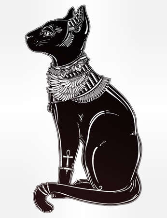occult: Vintage hand drawn egyptian cat - symbol of goddess Bastet. Vector illustration isolated. Magic religious objects linear in style. Tattoo and print outline template.
