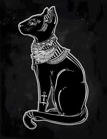 ankh: Vintage hand drawn egyptian cat - symbol of goddess Bastet. Vector illustration isolated. Magic religious objects linear in style. Tattoo and print outline template.