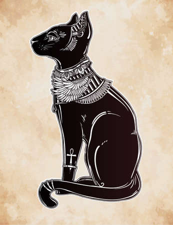 religious symbol: Vintage hand drawn egyptian cat - symbol of goddess Bastet. Vector illustration isolated. Magic religious objects linear in style. Tattoo and print outline template.