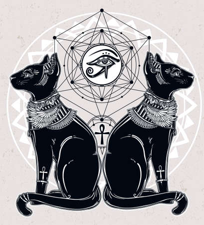 cat goddess: Vintage hand drawn egyptian cat with eye of  god Horus - symbol of goddess Bastet. Vector illustration isolated. Magic religious objects linear in style. Tattoo and print outline template. Illustration