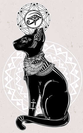 ankh: Vintage hand drawn egyptian cat with eye of  god Horus - symbol of goddess Bastet. Vector illustration isolated. Magic religious objects linear in style. Tattoo and print outline template. Illustration