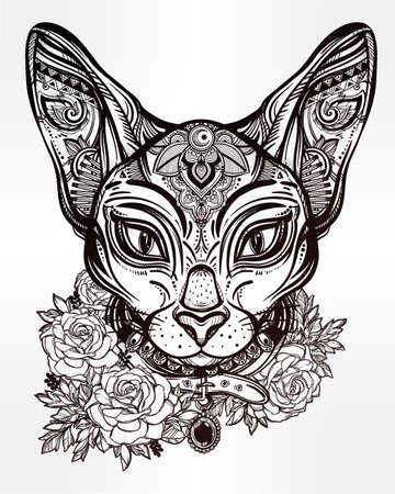 white cat: Vintage ornate cat head with tribal ornaments and floral collar. Character tattoo design for cat lovers, artwork for print and textiles. Isolated vector illustration. Illustration