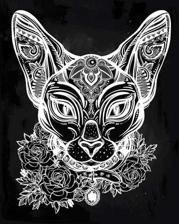 head collar: Vintage ornate cat head with tribal ornaments and floral collar. Character tattoo design for cat lovers, artwork for print and textiles. Isolated vector illustration. Illustration