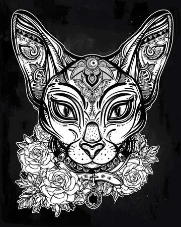 by the collar: Vintage ornate cat head with tribal ornaments and floral collar. Character tattoo design for cat lovers, artwork for print and textiles. Isolated vector illustration. Illustration
