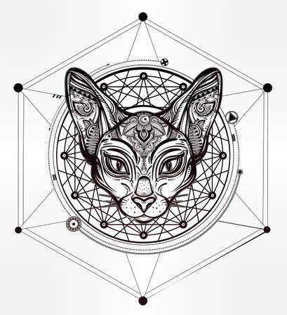 esfinge: la cabeza de la vendimia del gato adornado con los ornamentos y elementos de diseño geométrico. el origen étnico, el arte del tatuaje, espiritualidad, diseño boho. Perfecto para impresión, posters, camisetas y textiles. Ilustración del vector.