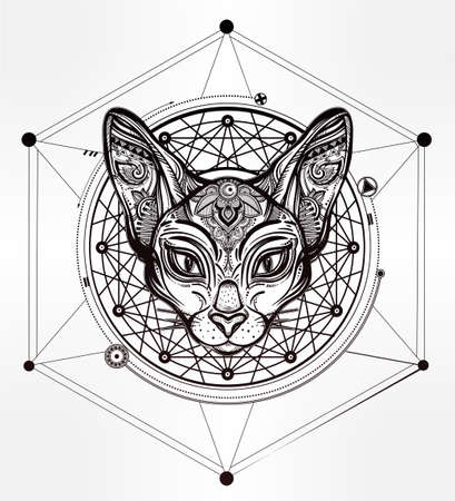 Sphinx: Vintage ornate cat head with ornaments and geometric design element. Ethnic background, tattoo art, spirituality, boho design. Perfect for print, posters, t-shirts and textiles. Vector illustration.
