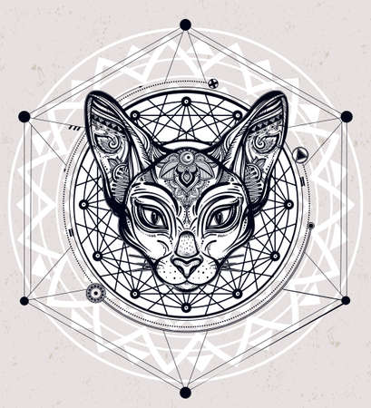 occult: Vintage ornate cat head with ornaments and geometric design element. Ethnic background, tattoo art, spirituality, boho design. Perfect for print, posters, t-shirts and textiles. Vector illustration.