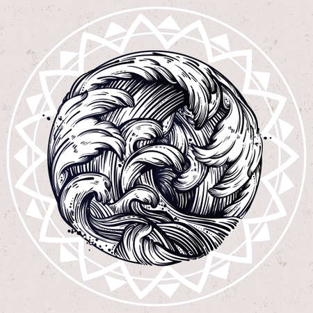 ocean and sea: Hand drawn water waves in the sea line art drawing. Template in boho style. Isolated vector illustration. Tattoo, sea, travel, adventure, meditation symbol. The great outdoors.