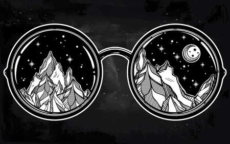 nomad: Vector round glasses with mountains in the reflection. Poster design elements. Summer and travel, bohemian or hippie motifs. Isolated Vector illustration.
