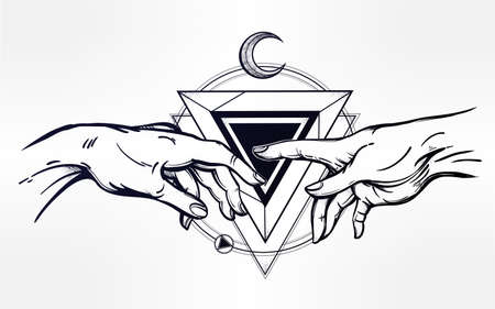 adam: God and Adams hands. Creation of Adam. Hands with sacred symbol. Hope faith and help, assistance and support in religion. Isolated vector illustration. Tattoo design, spiritual symbol for your use.