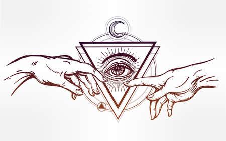 alquimia: Dios y Adams manos. Creación de Adán. con todo el ojo divino. La esperanza y la fe ayuda, asistencia y apoyo en la religión. ilustración del vector. diseño del tatuaje, símbolo espiritual para su uso.