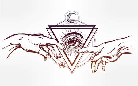 seeing: God and Adams hands. Creation of Adam. with all seeing divine eye. Hope faith and help, assistance and support in religion. Isolated vector illustration. Tattoo design, spiritual symbol for your use.
