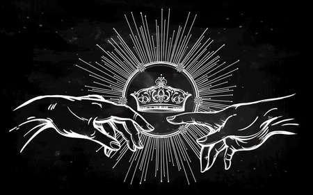 crown: God and Adams hands. Genesis Hands with divine kings crown. Hope faith and help, assistance and support in religion. Isolated vector illustration. Tattoo design, spiritual symbol for your use. Illustration