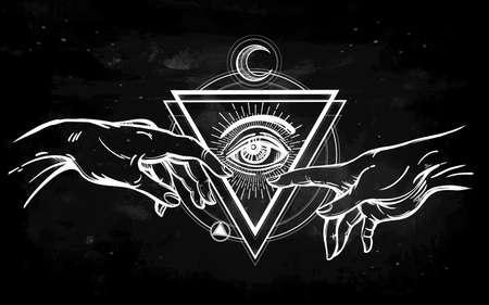 adam: God and Adams hands. Creation of Adam. with all seeing divine eye. Hope faith and help, assistance and support in religion. Isolated vector illustration. Tattoo design, spiritual symbol for your use.