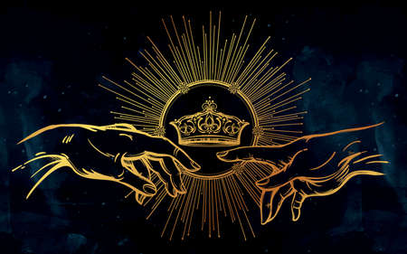 kingdom of god: God and Adams hands. Genesis Hands with divine kings crown. Hope faith and help, assistance and support in religion. Isolated vector illustration. Tattoo design, spiritual symbol for your use. Illustration