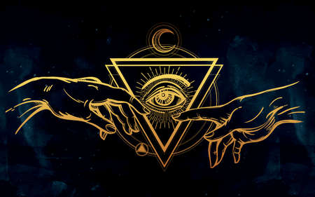 illuminati: God and Adams hands. Creation of Adam. with all seeing divine eye. Hope faith and help, assistance and support in religion. Isolated vector illustration. Tattoo design, spiritual symbol for your use.